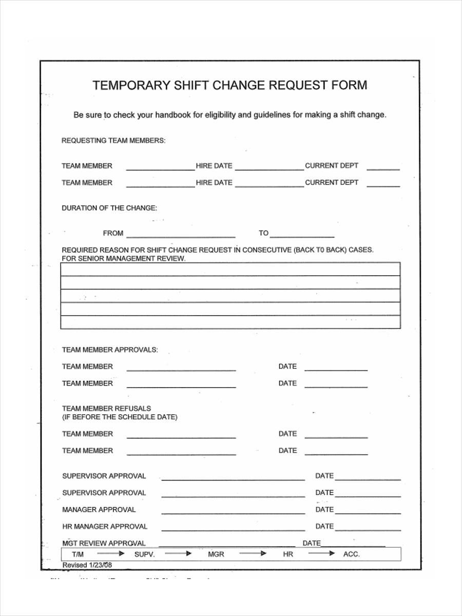 shift swap form 6  Shift Change Form Samples - Free Sample, Example Format Download