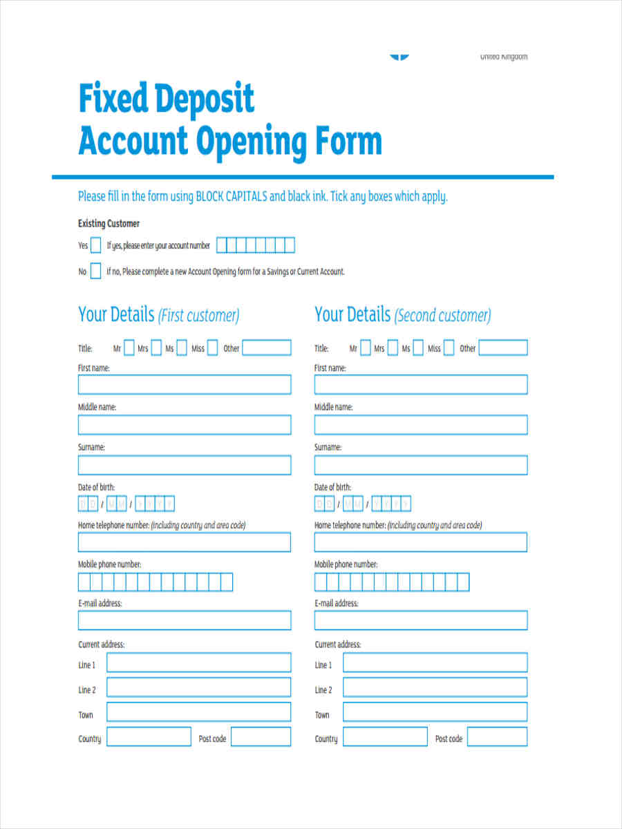 term deposit account opening