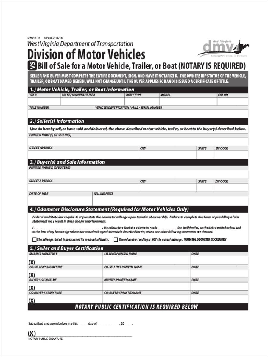 trailer bill of sale example