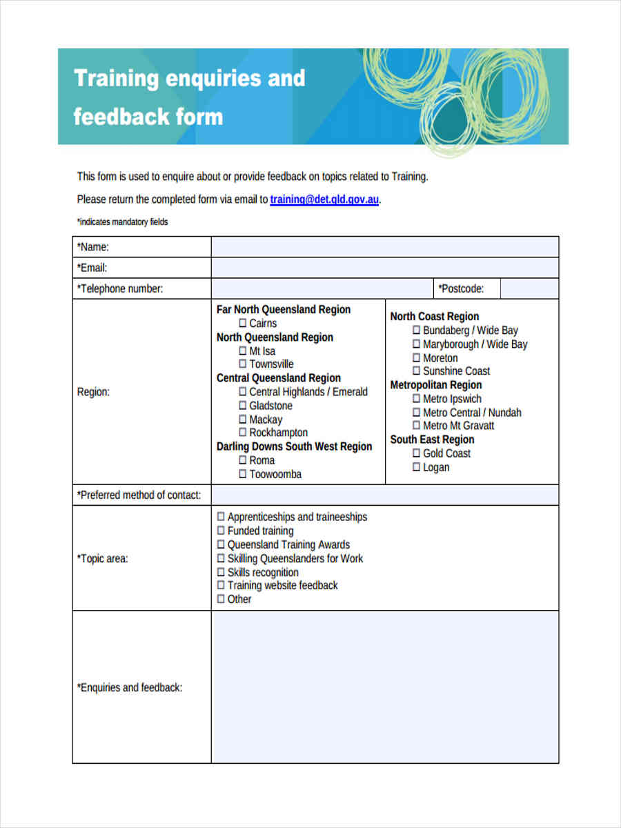 training enquiries feedback
