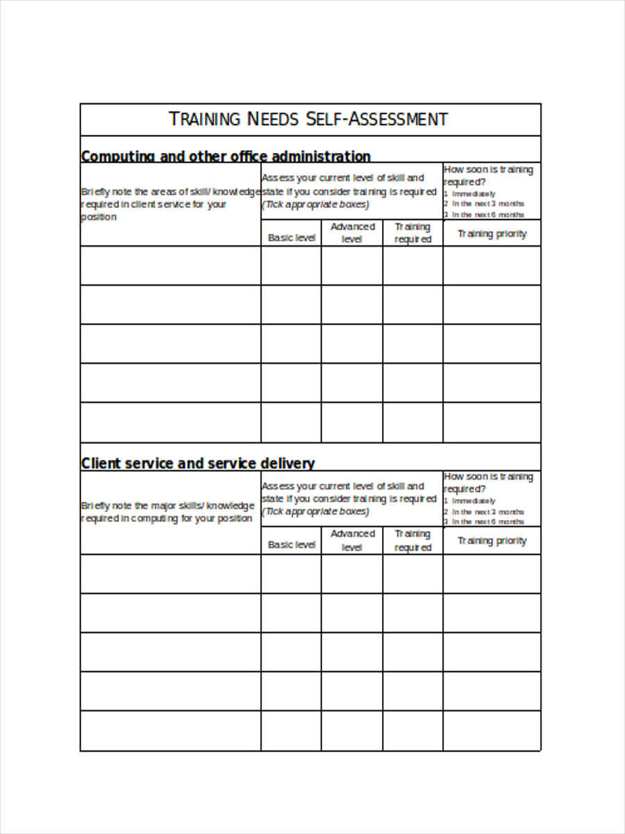 free 5  training needs assessment forms in ms word
