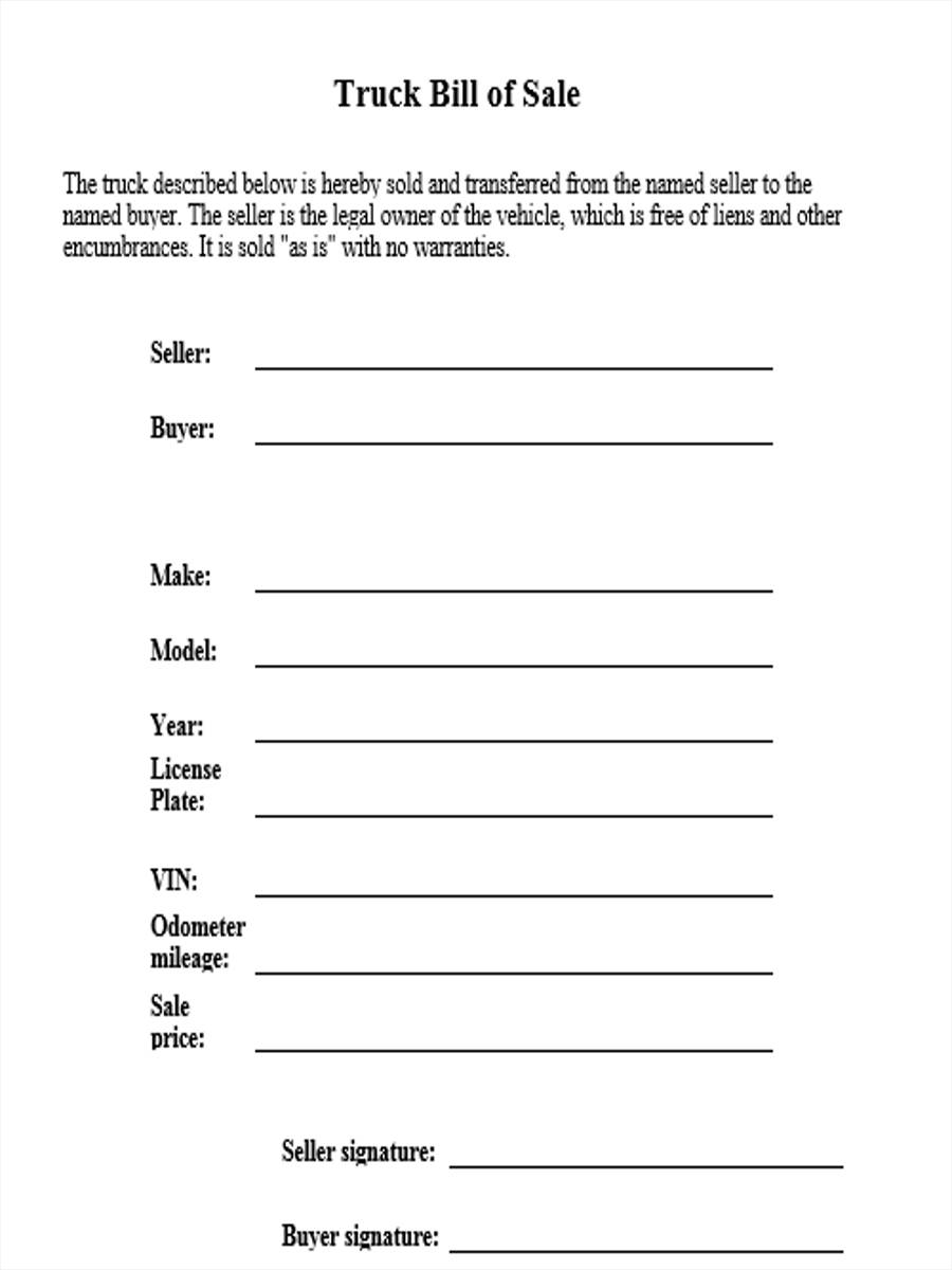 4+ Truck Bill of Sale Form Sample - Free Sample, Example Format ...