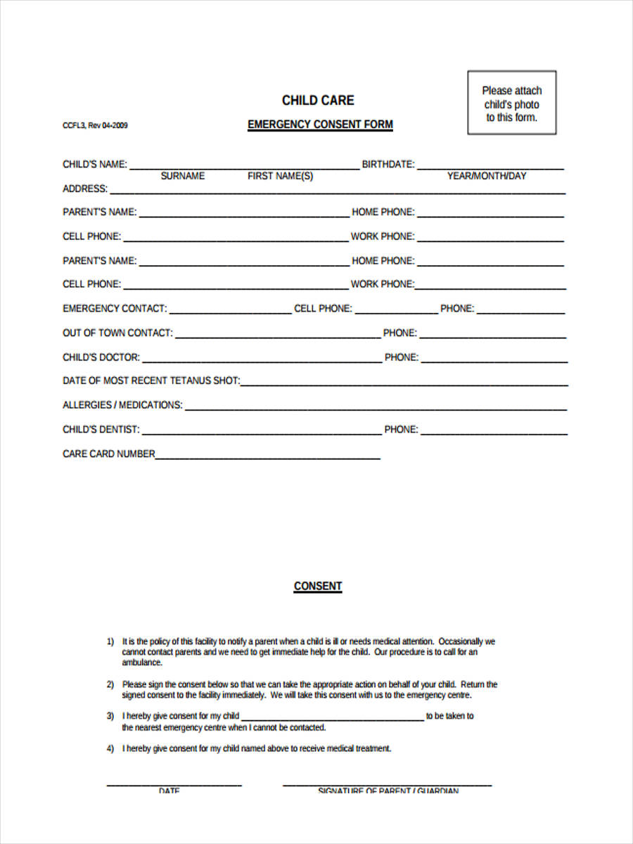 free 8  sample emergency consent forms