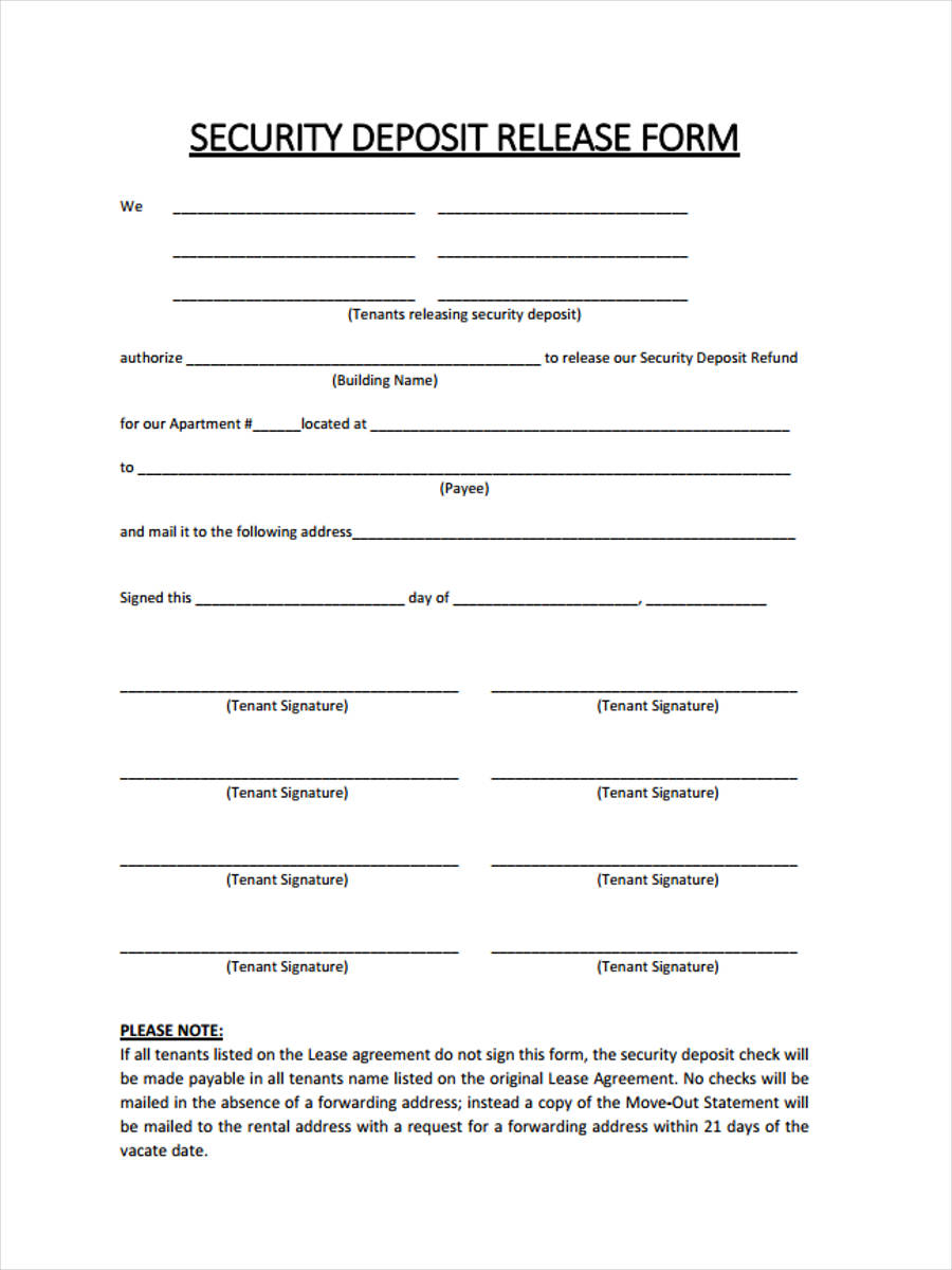 7 rental deposit form samples free sample example format download rental security deposit thecheapjerseys Image collections