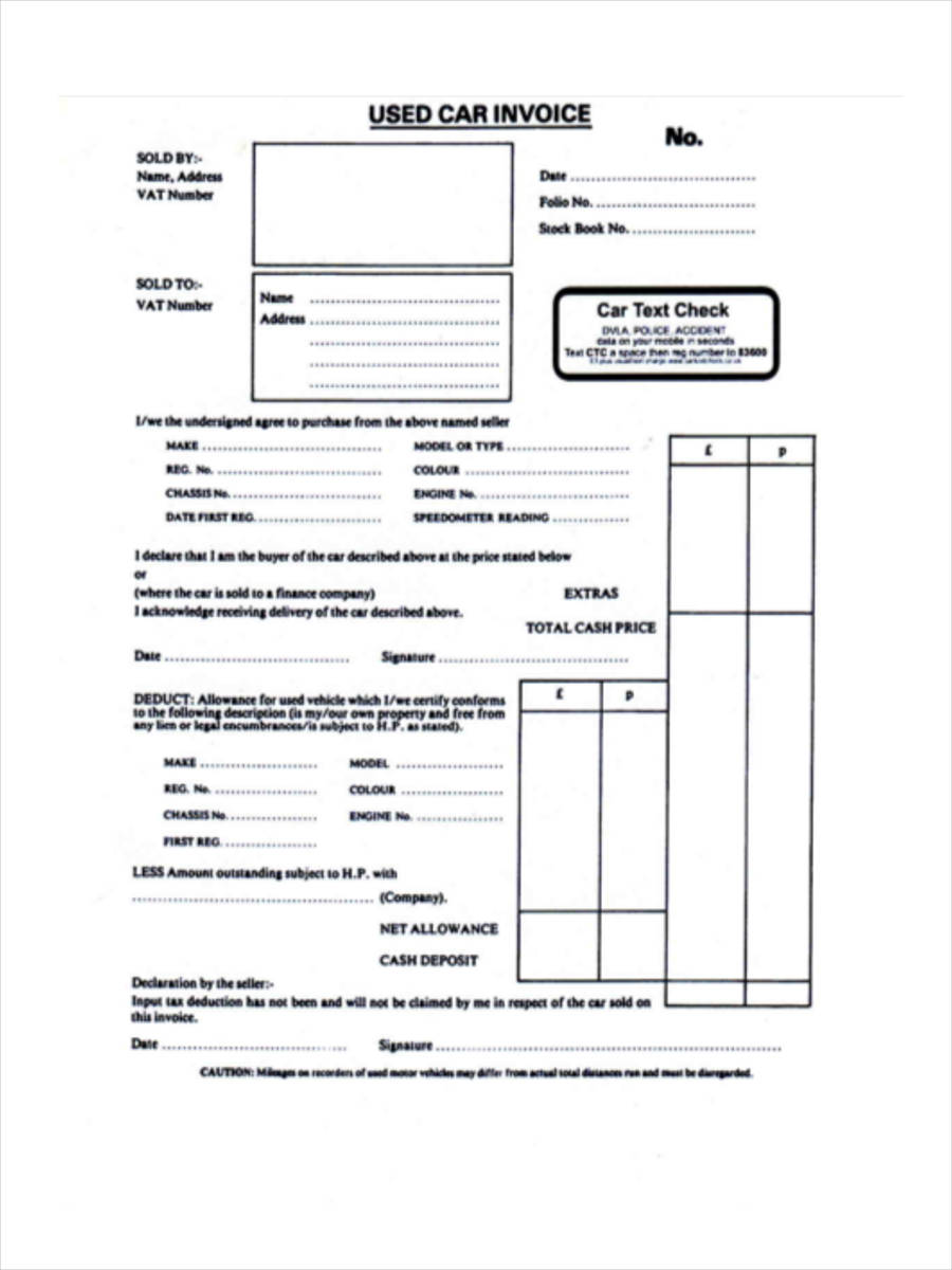 Vehicle Invoice Forms 6 Free Documents In Word Pdf