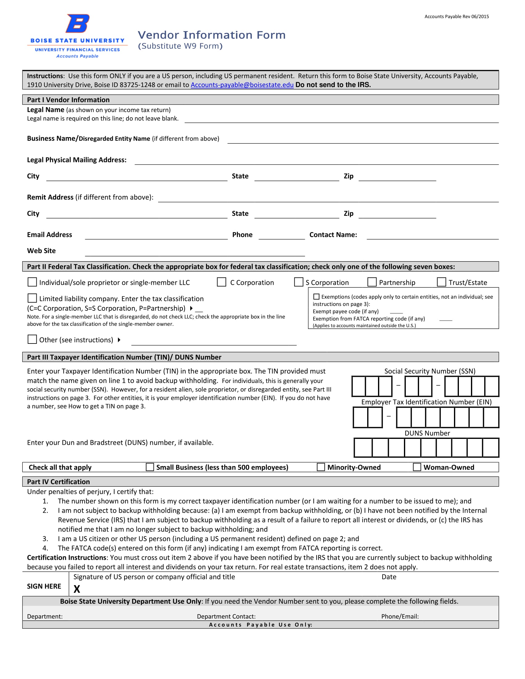 vendor information form 1