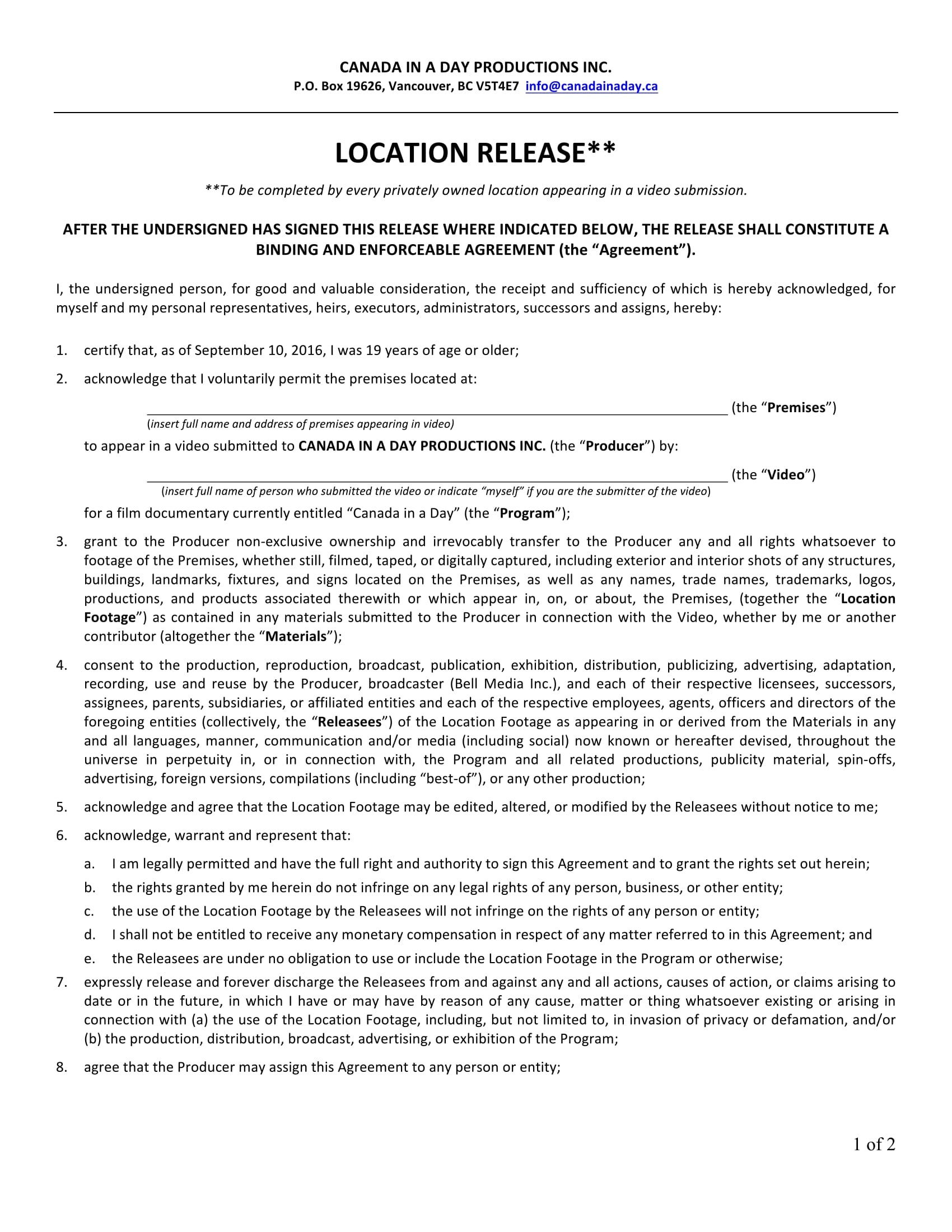 video location release form 1