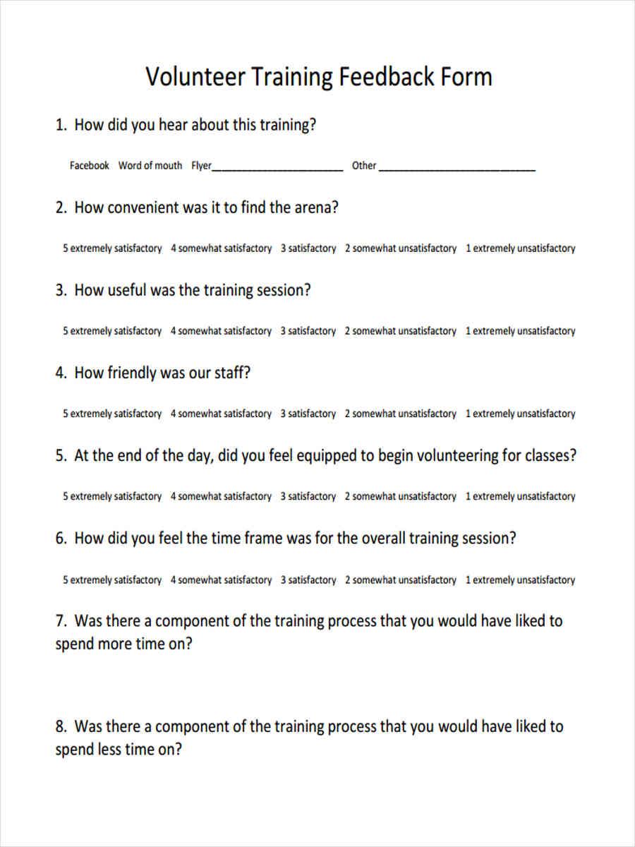 volunteer training feedback1