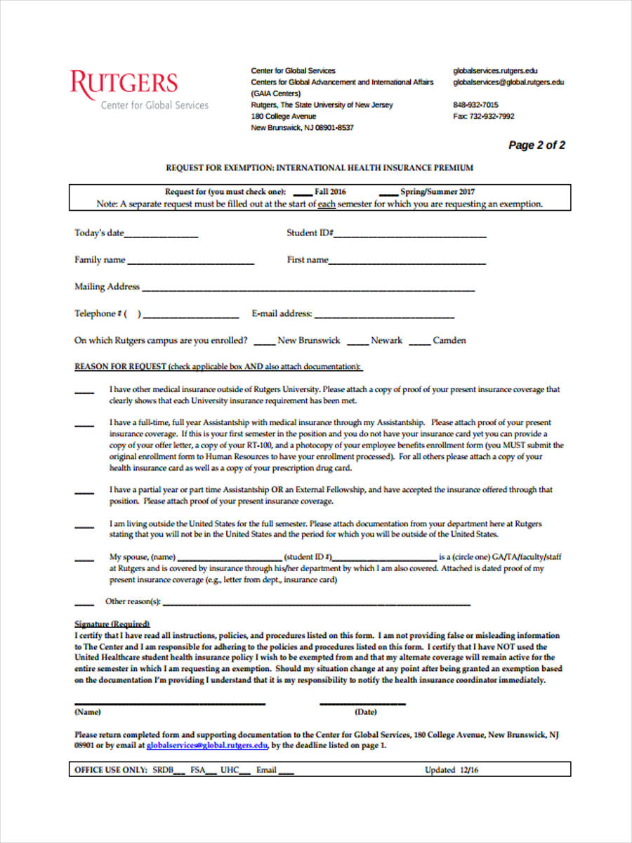 waiver request for exemption