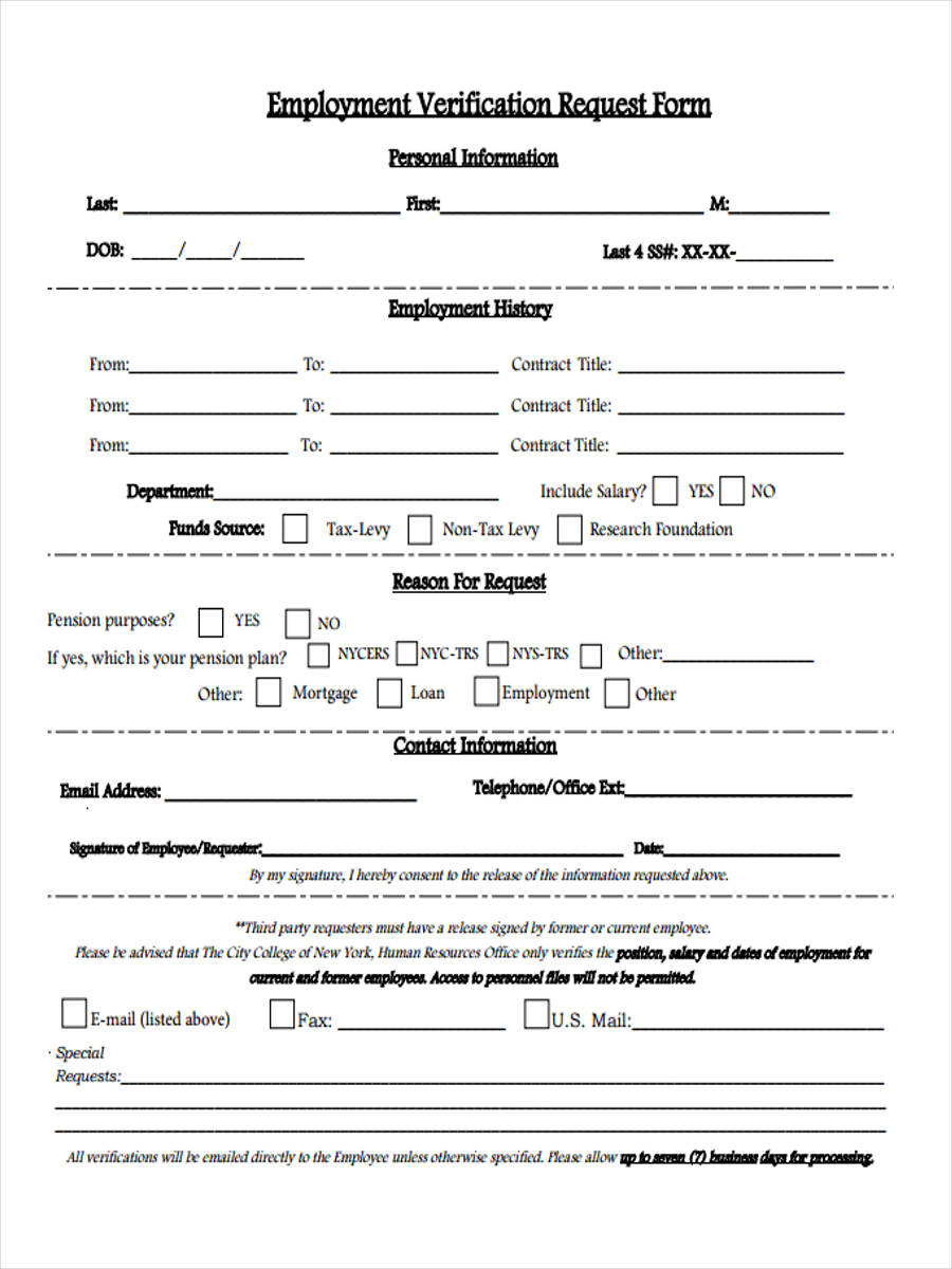 walk in employment verification form