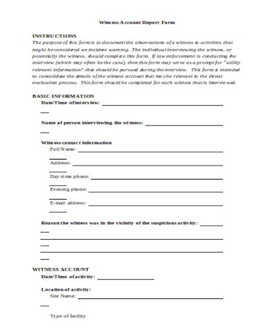 witness account report form