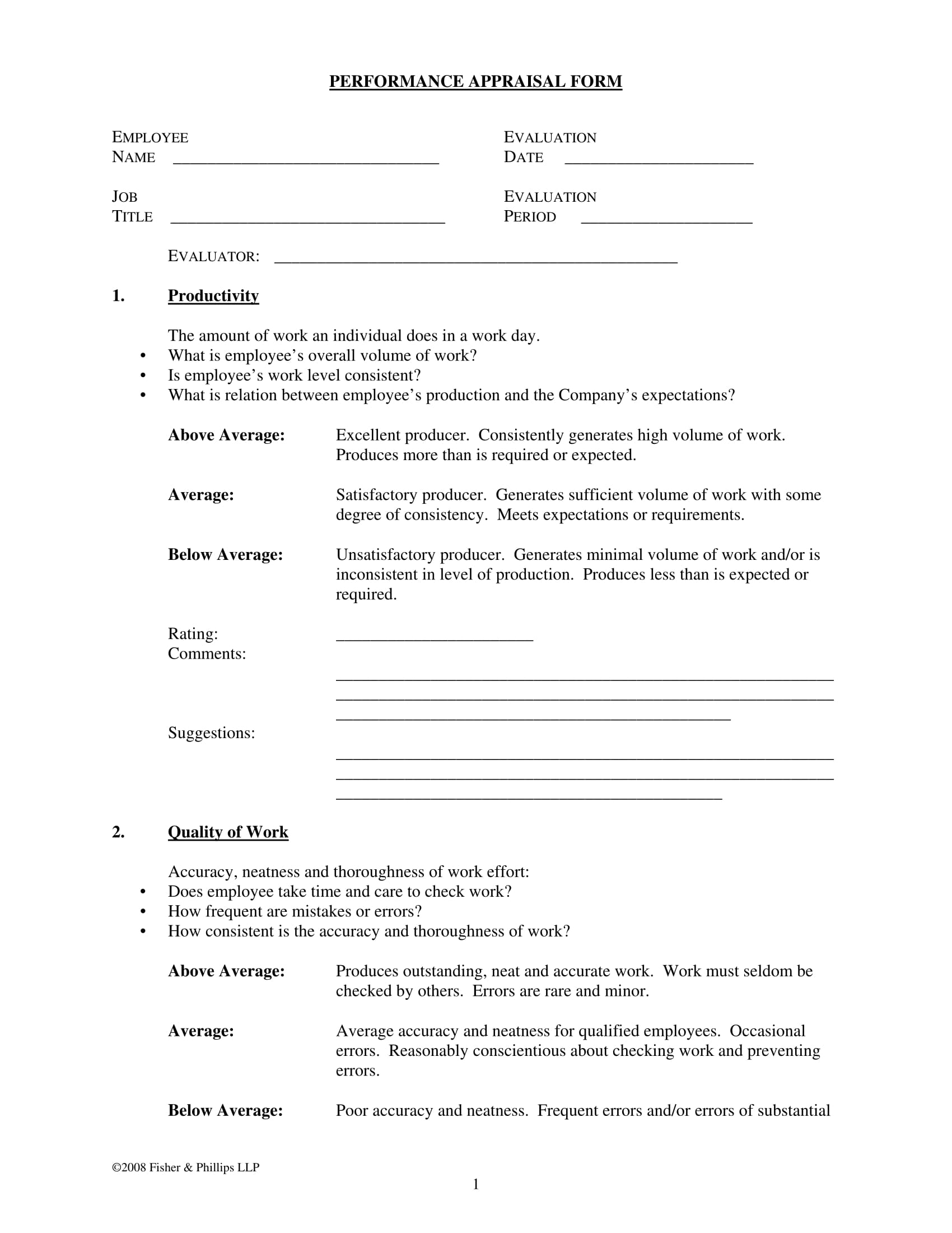 work performance appraisal form 2