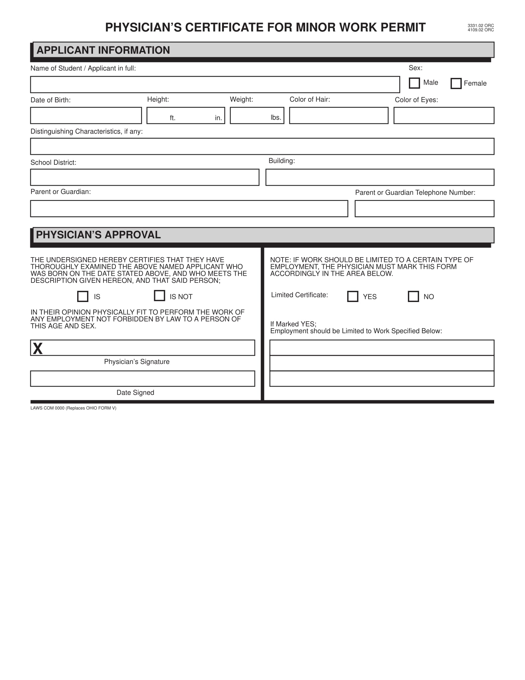 work permit physical form 1