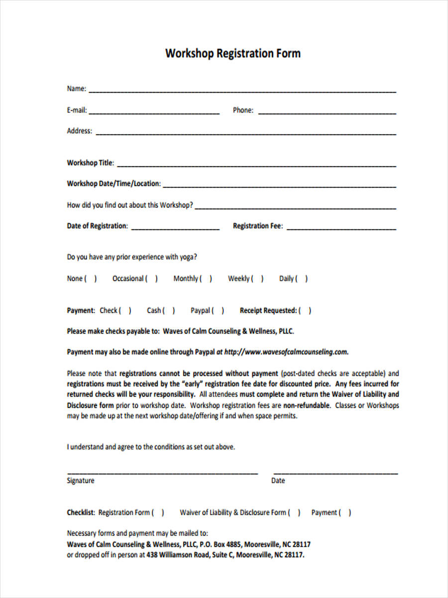 10 workshop registration forms