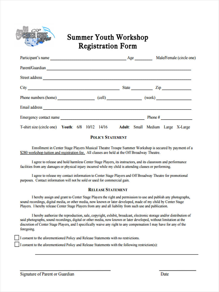 10 Workshop Registration Forms Free Sample Example Format Download