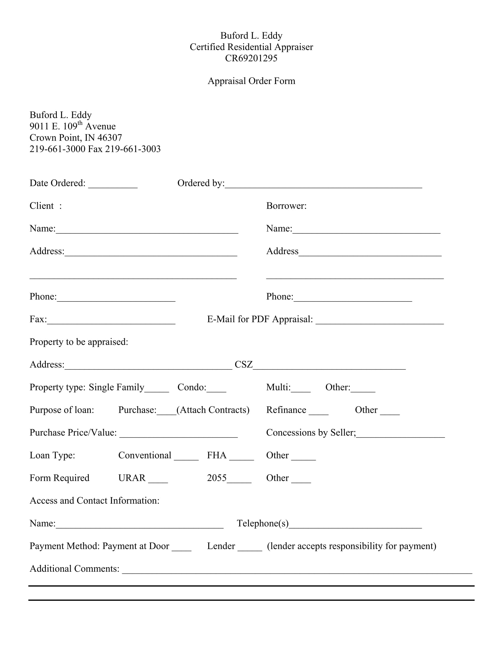 real estate appraisal order form 1