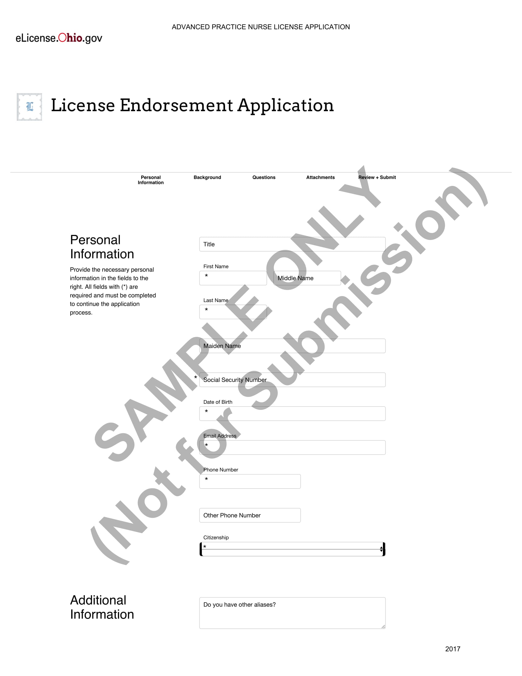 advanced practice nurse license application