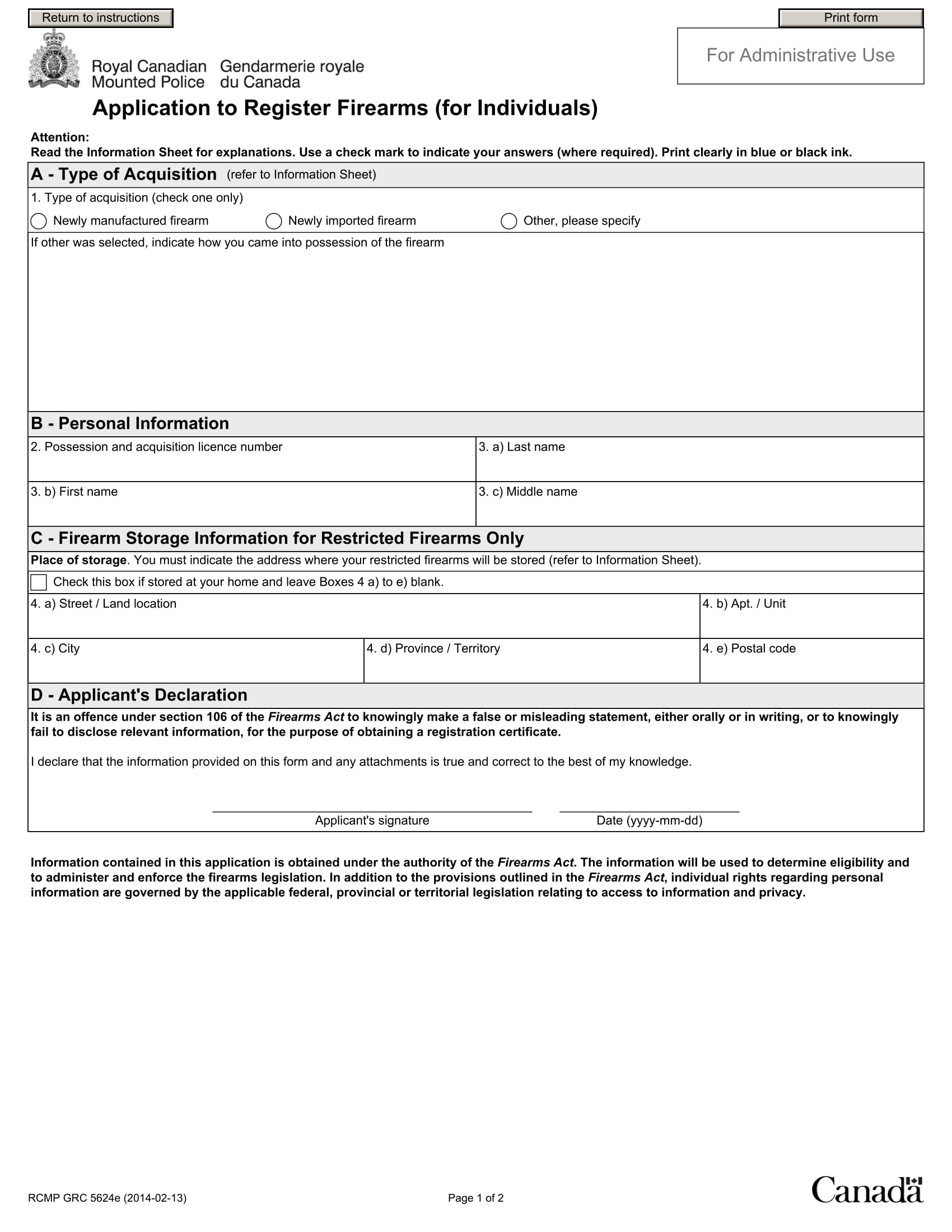 application to register firearms