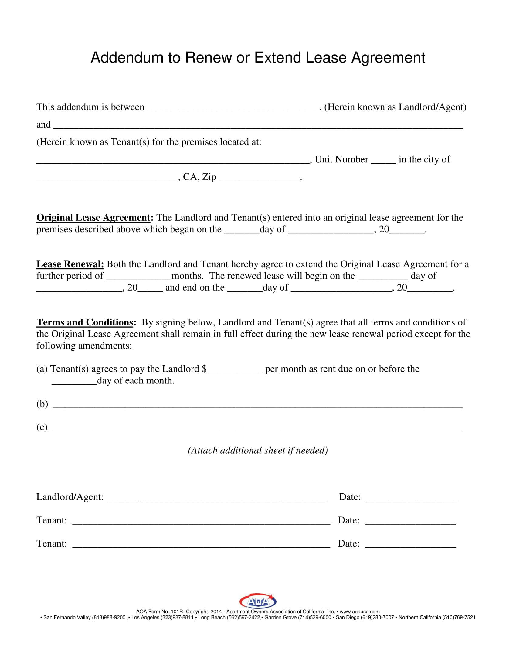 addendum to renew extend lease agreement form 1