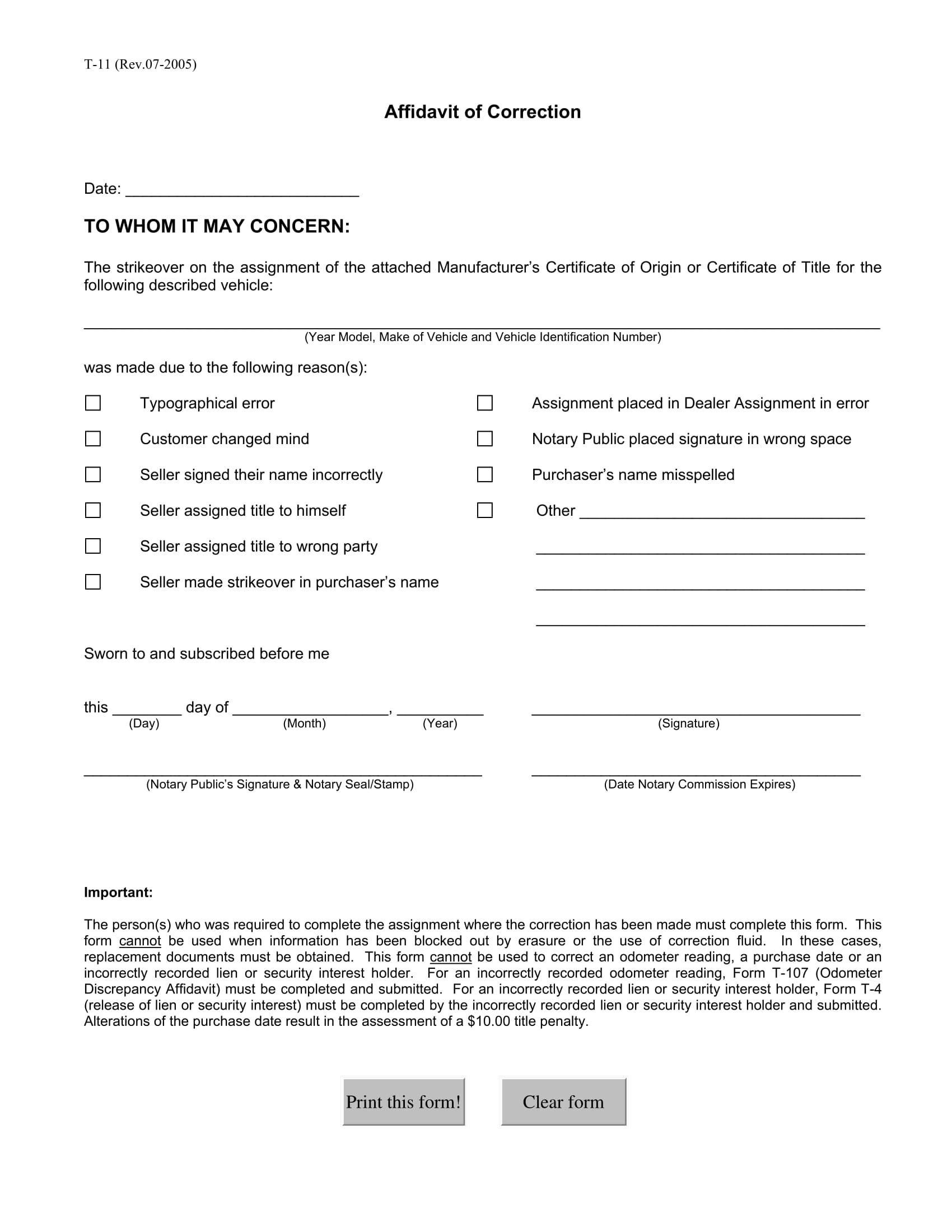 affidavit of correction for vehicles 1