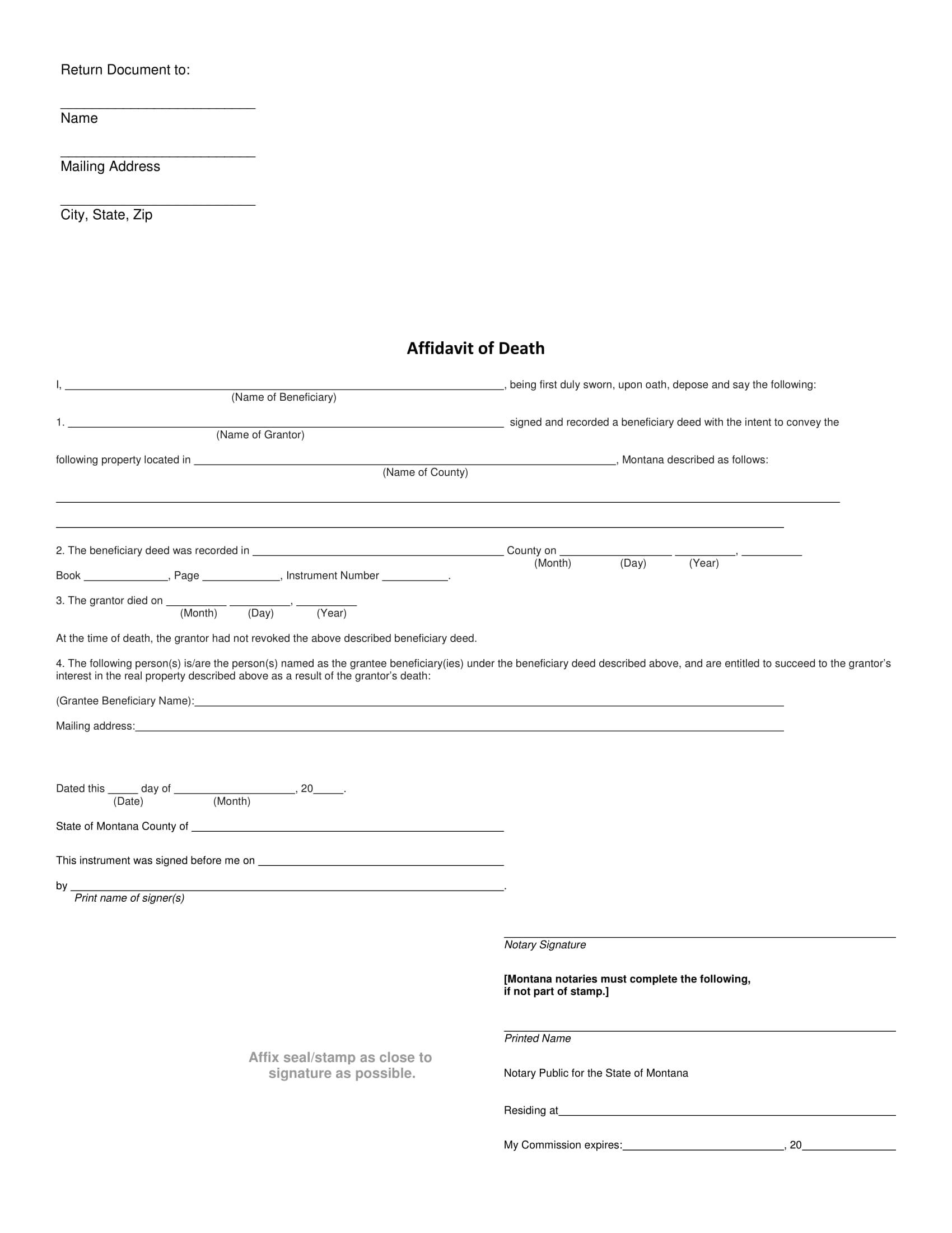 affidavit of death form 1