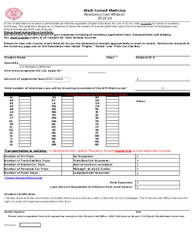 affidavit of residency cost form