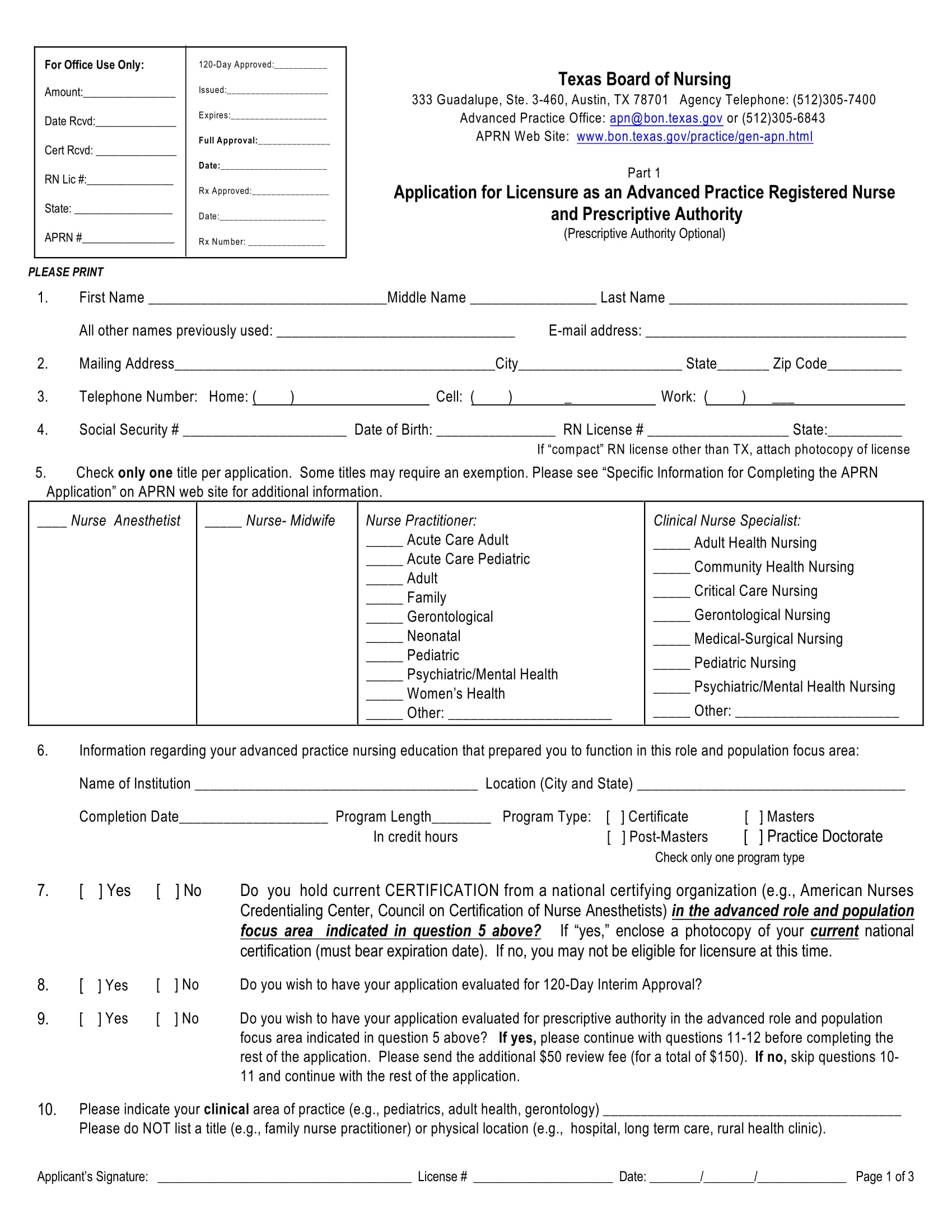 application for licensure as an advanced practice registered nurse