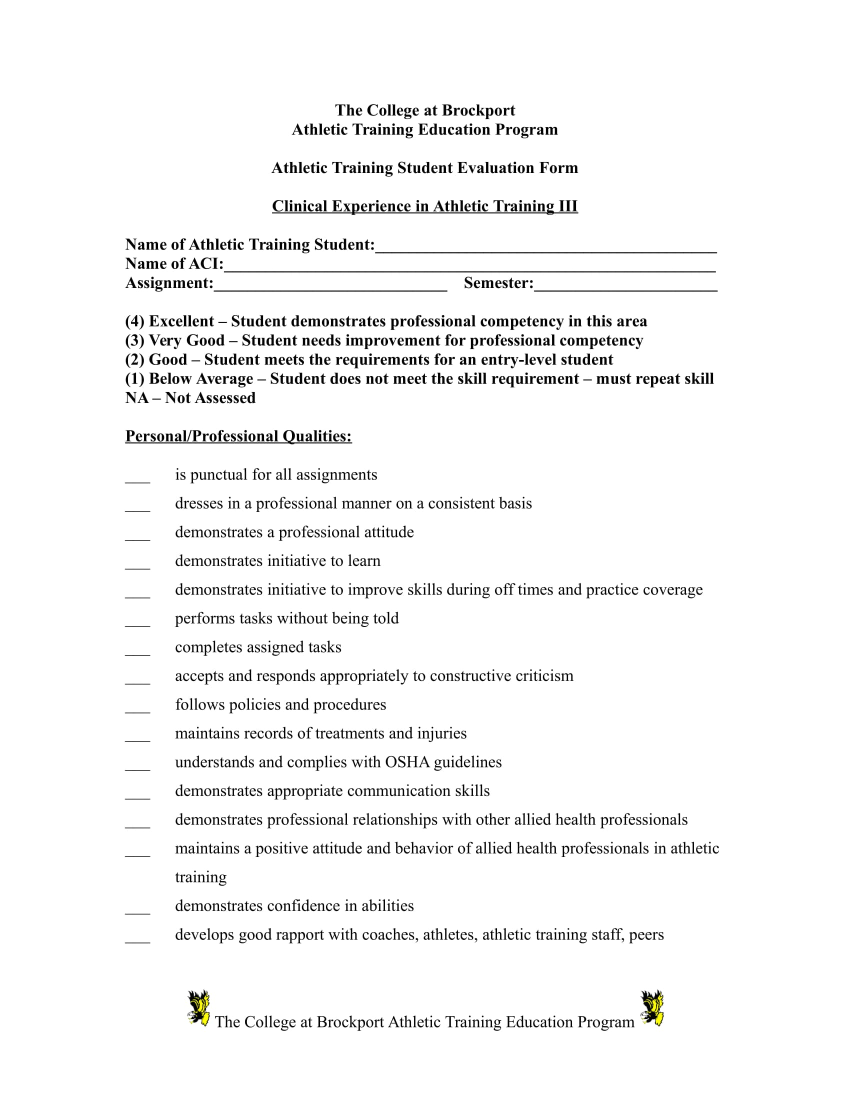 athletic training evaluation form word format 1
