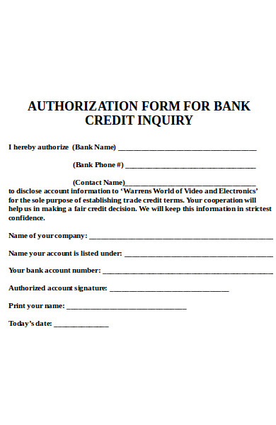 bank credit inquiry form