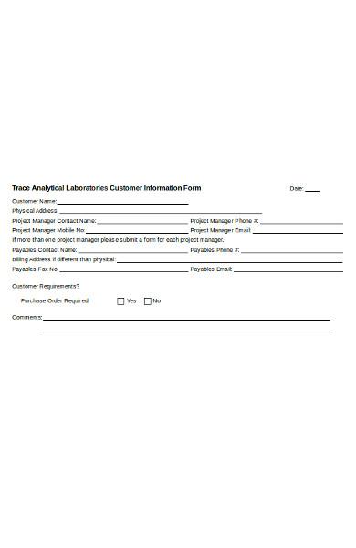 basic customer information form