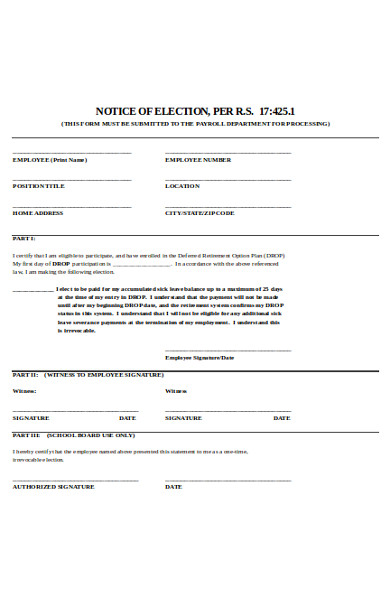 basic notice of election form