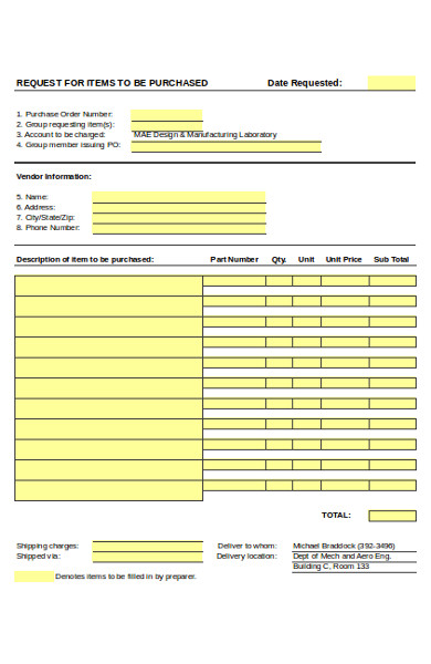 basic purchase order request form