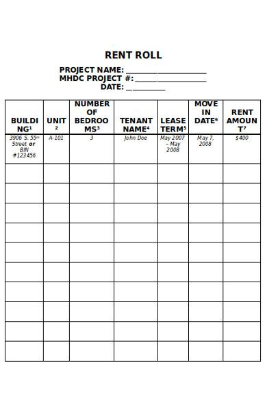 basic rent roll form
