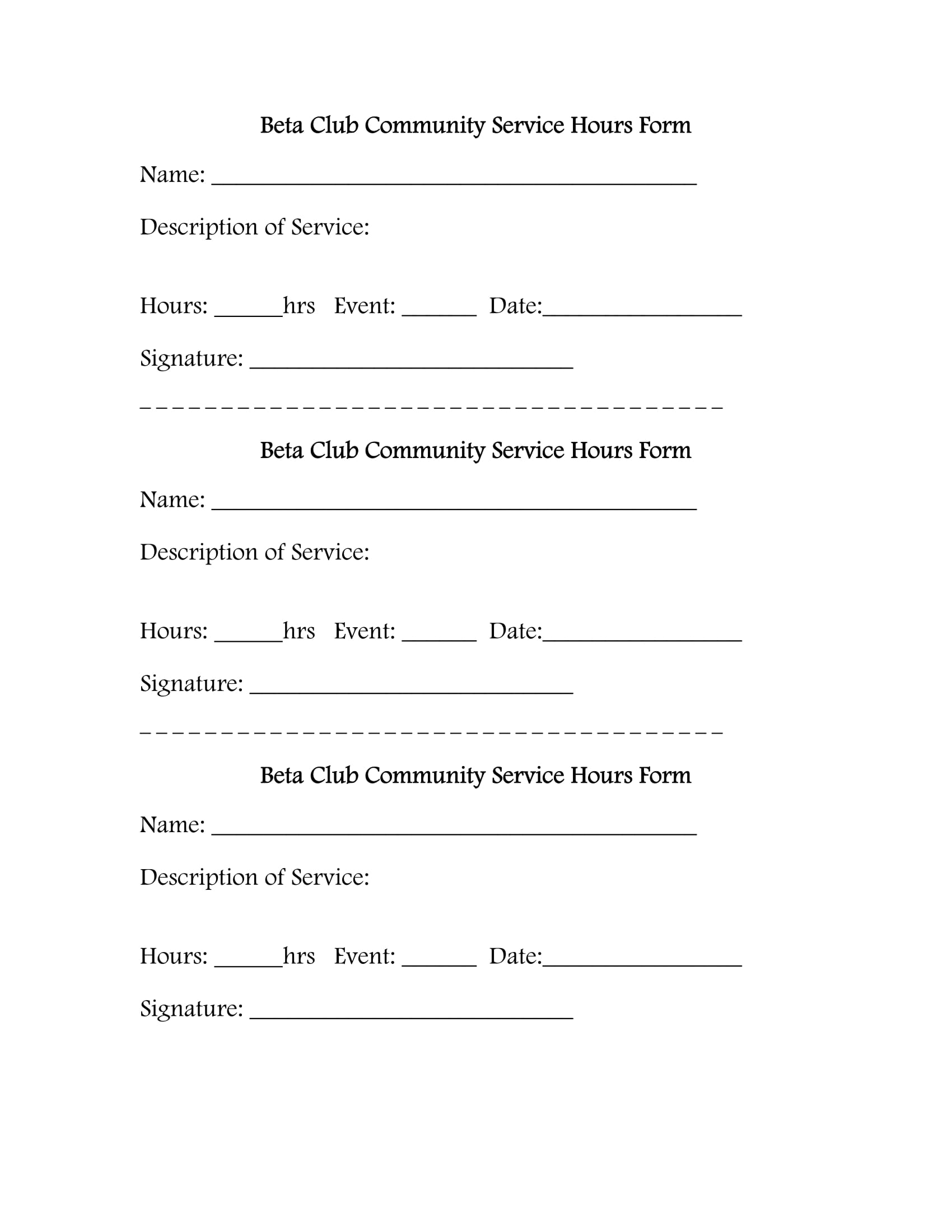 beta club service hours form 1