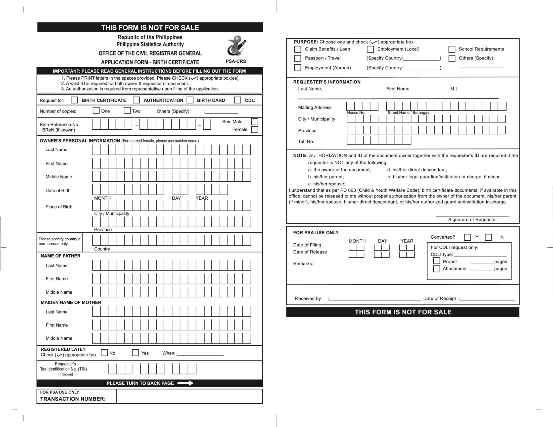birth certificate application form 1