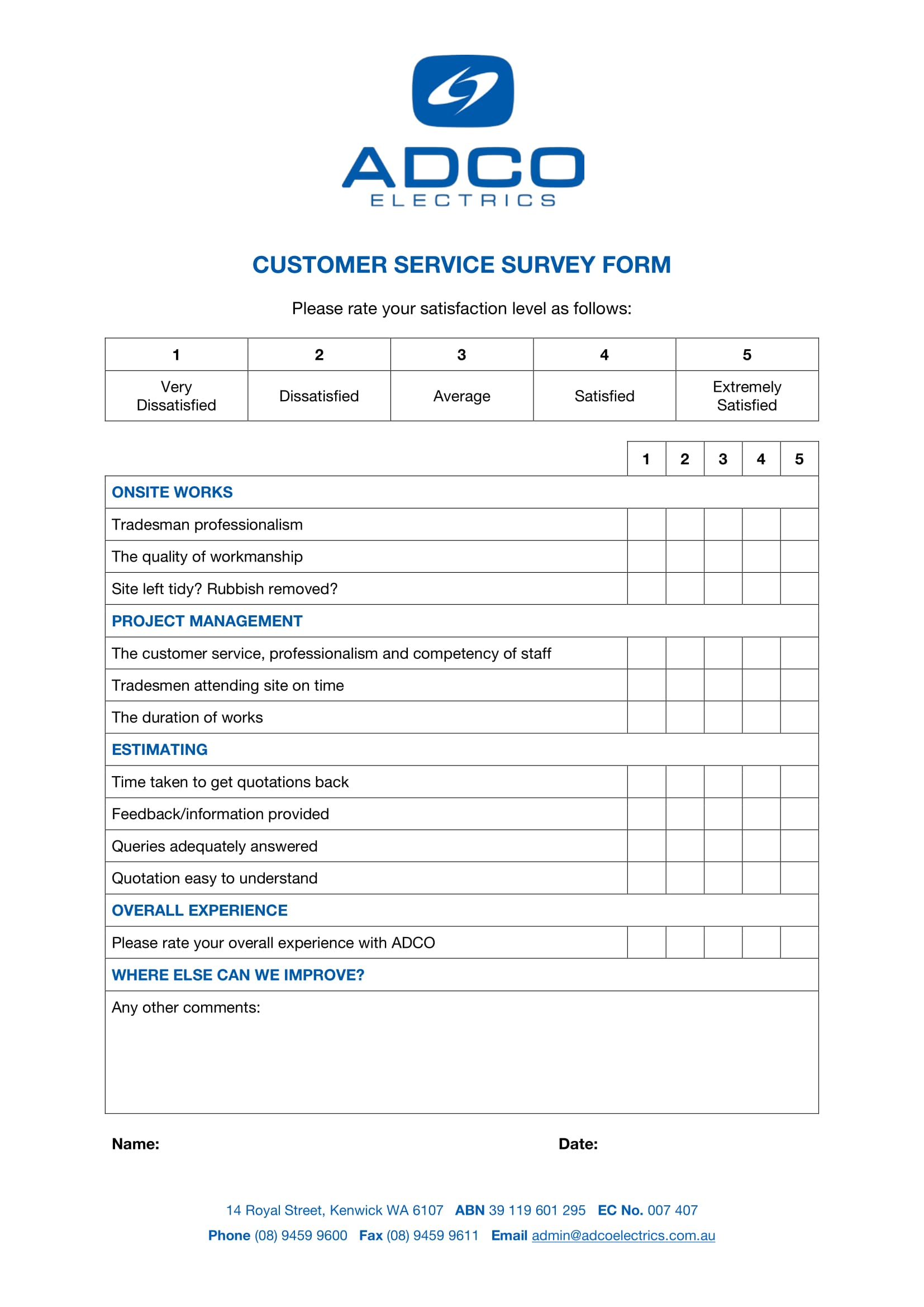customer service survey form 1