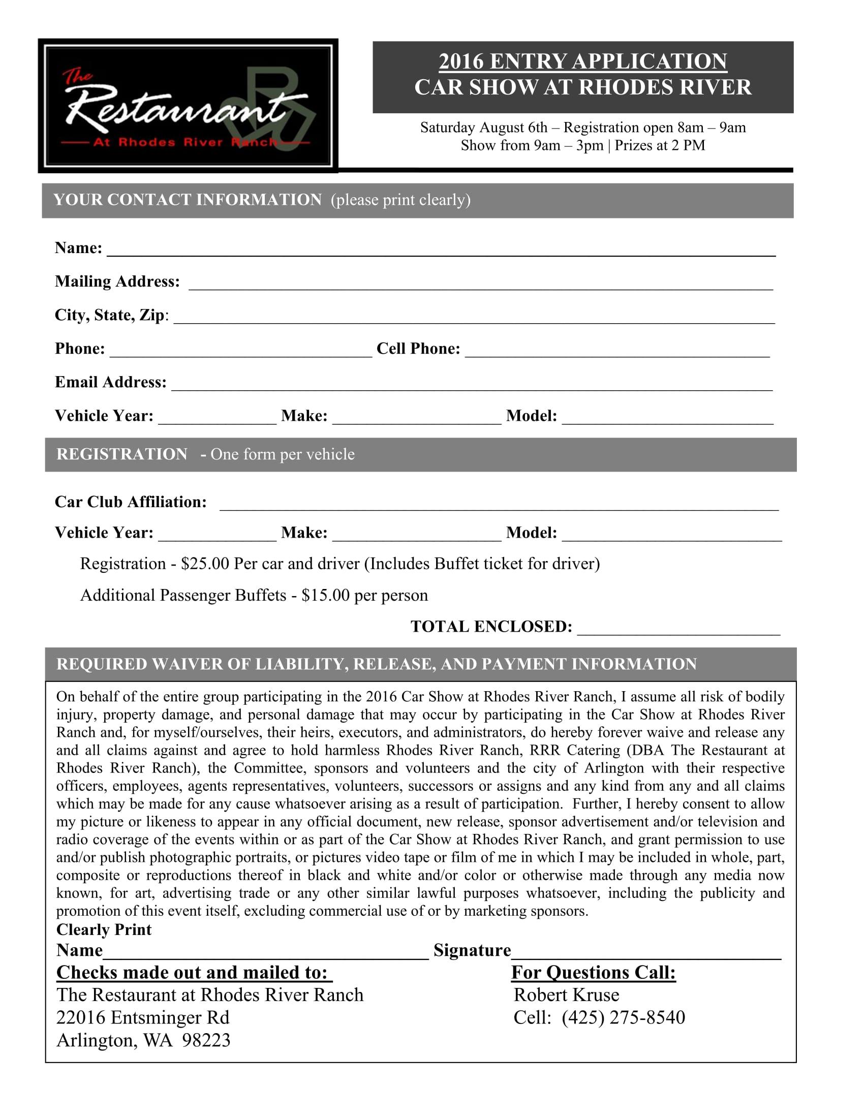 car show application registration form 1