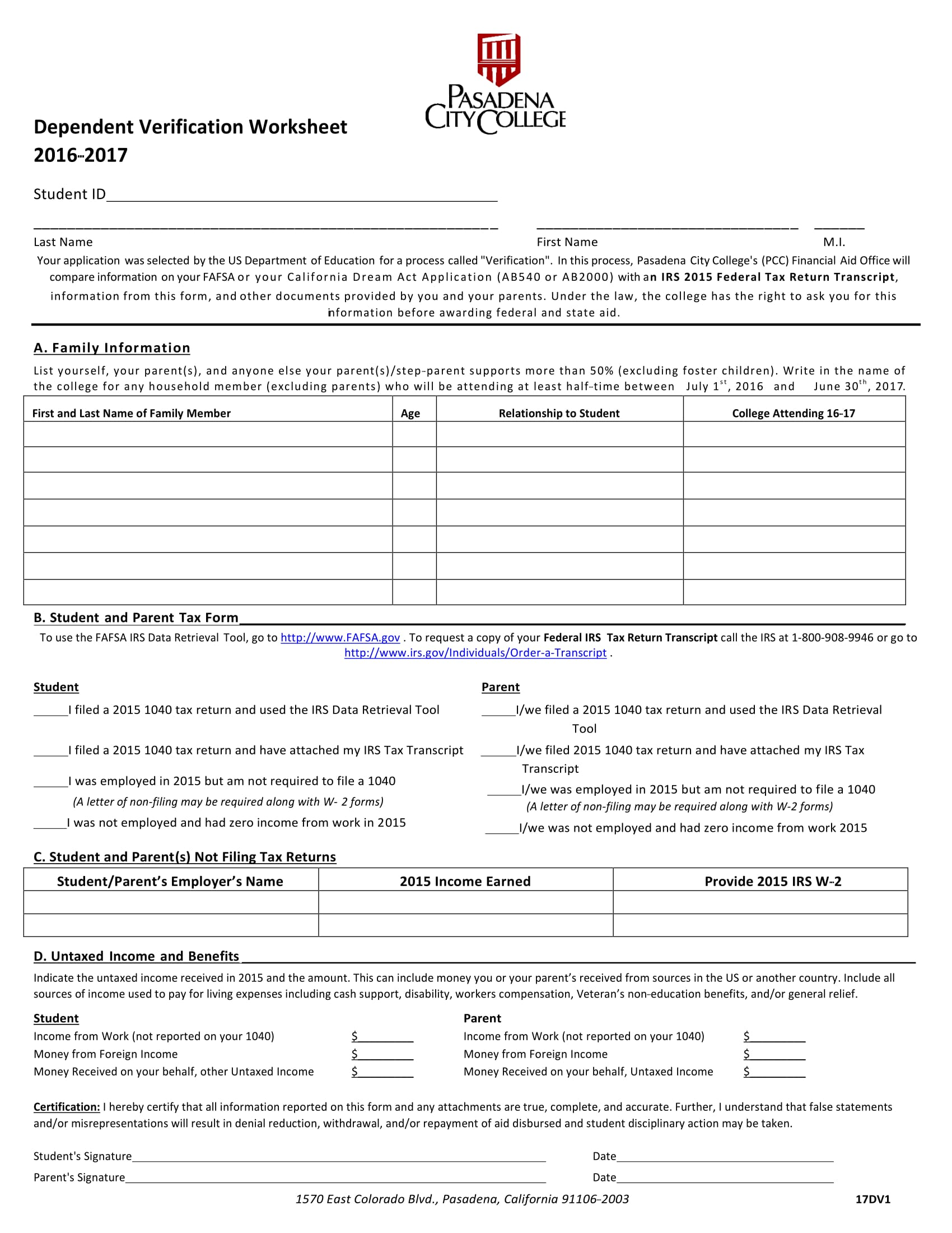 Worksheets Dependant Verification Worksheet 7 steps in filling out a dependent verification form college worksheet form