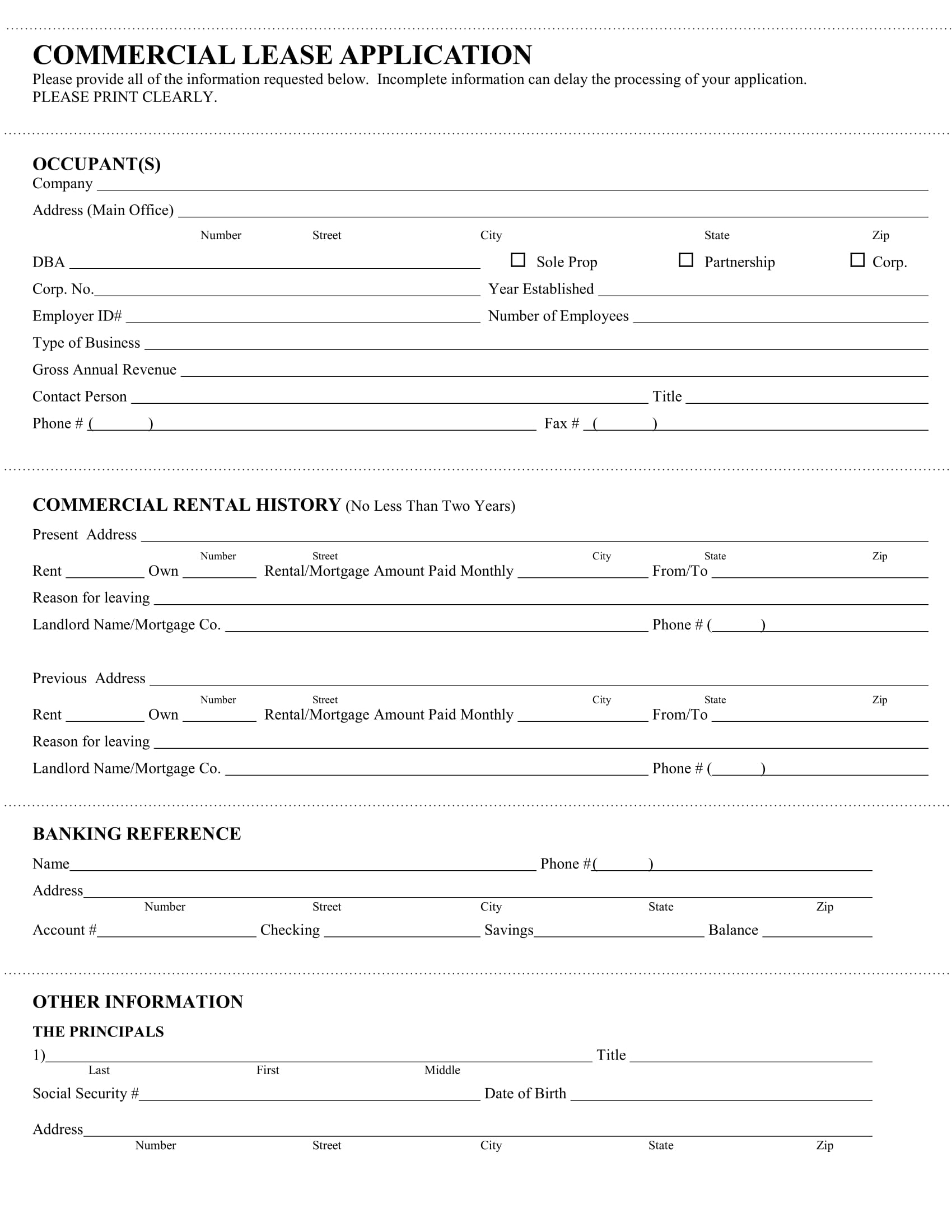 commercial office lease application form 1