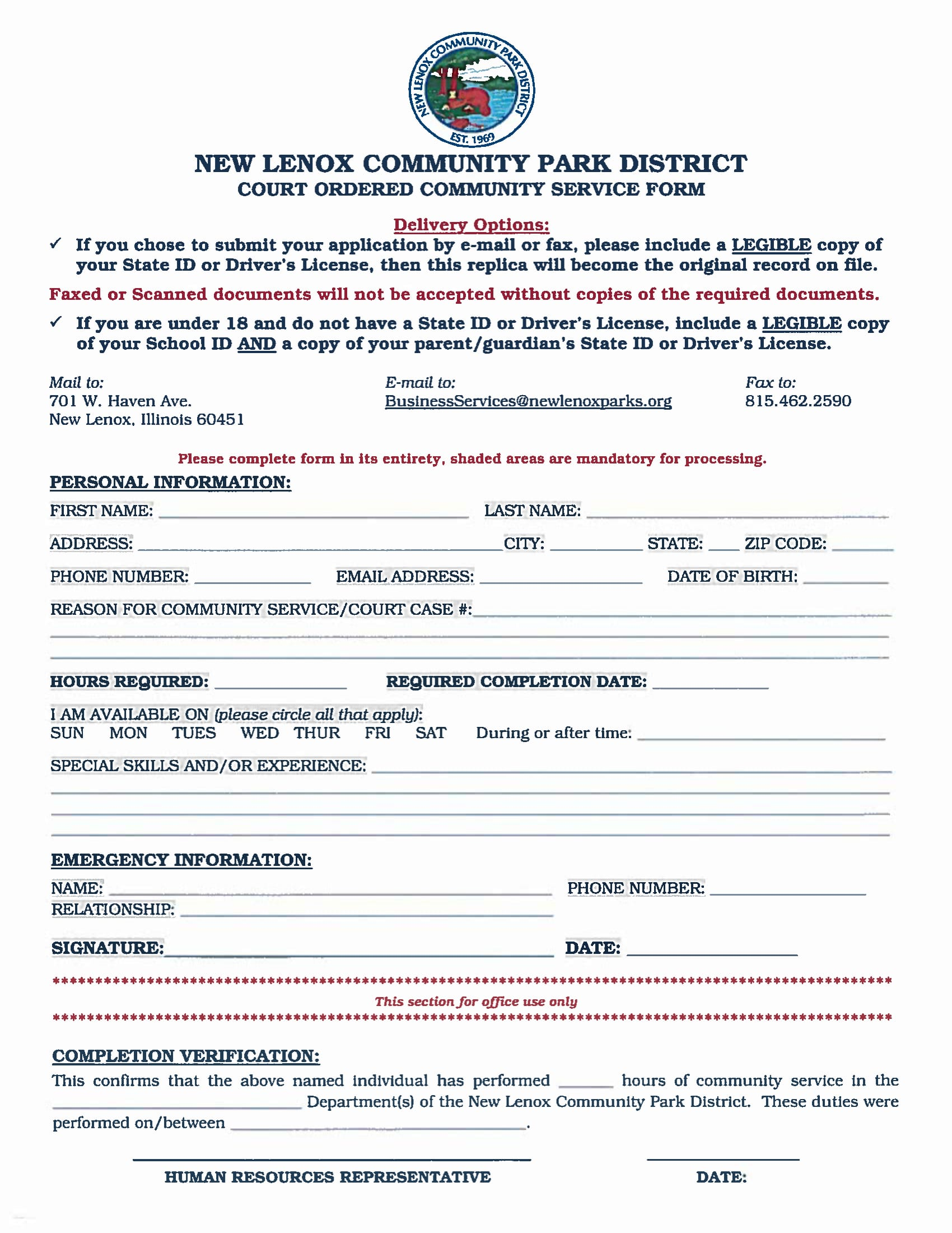 court order community service form 1