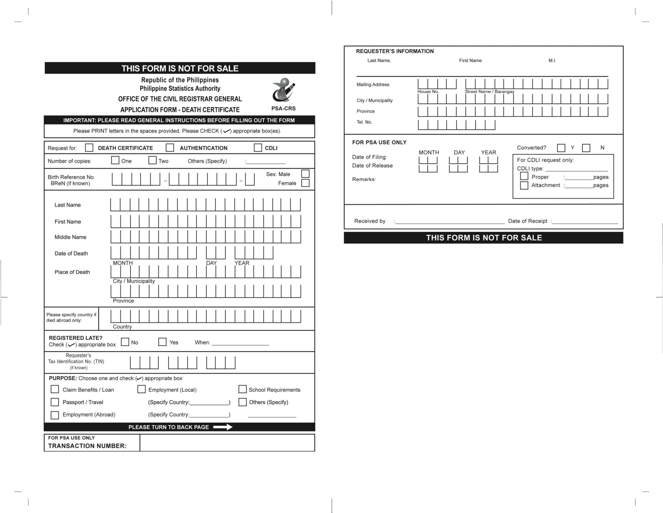 death certificate application form 1