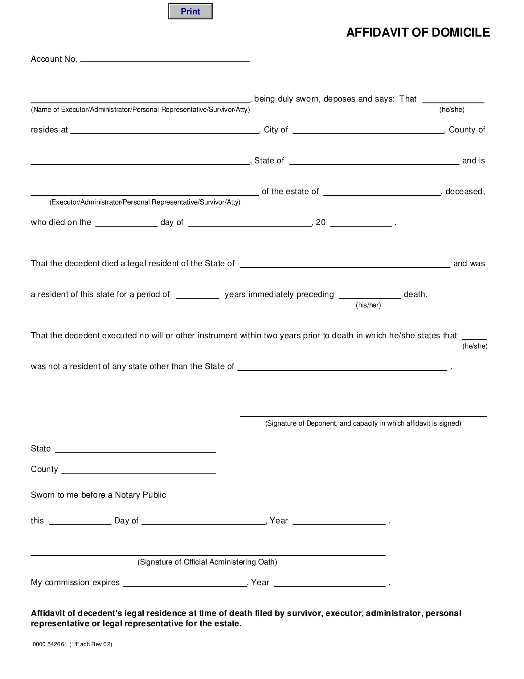 domicile affidavit format 1