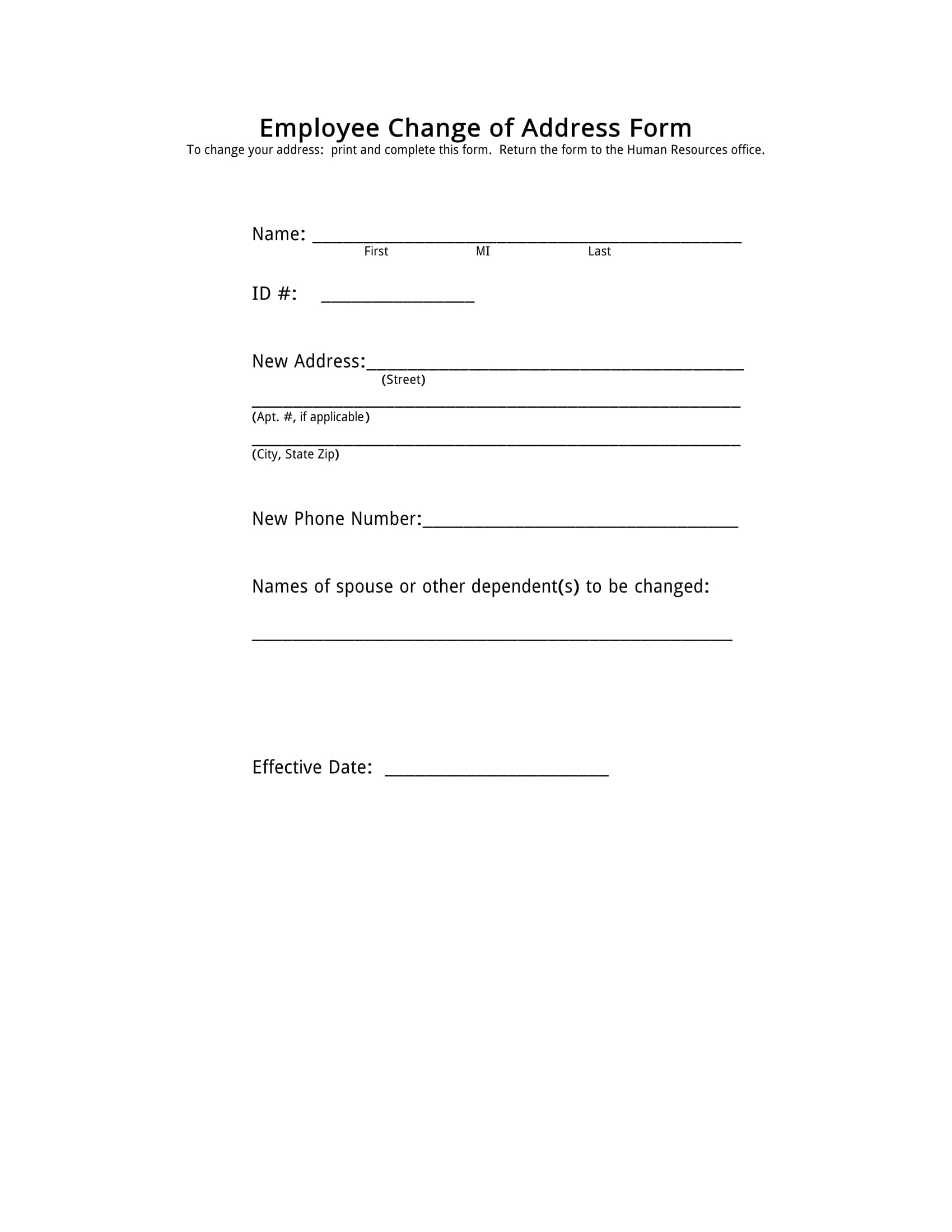 employee change of address form 1