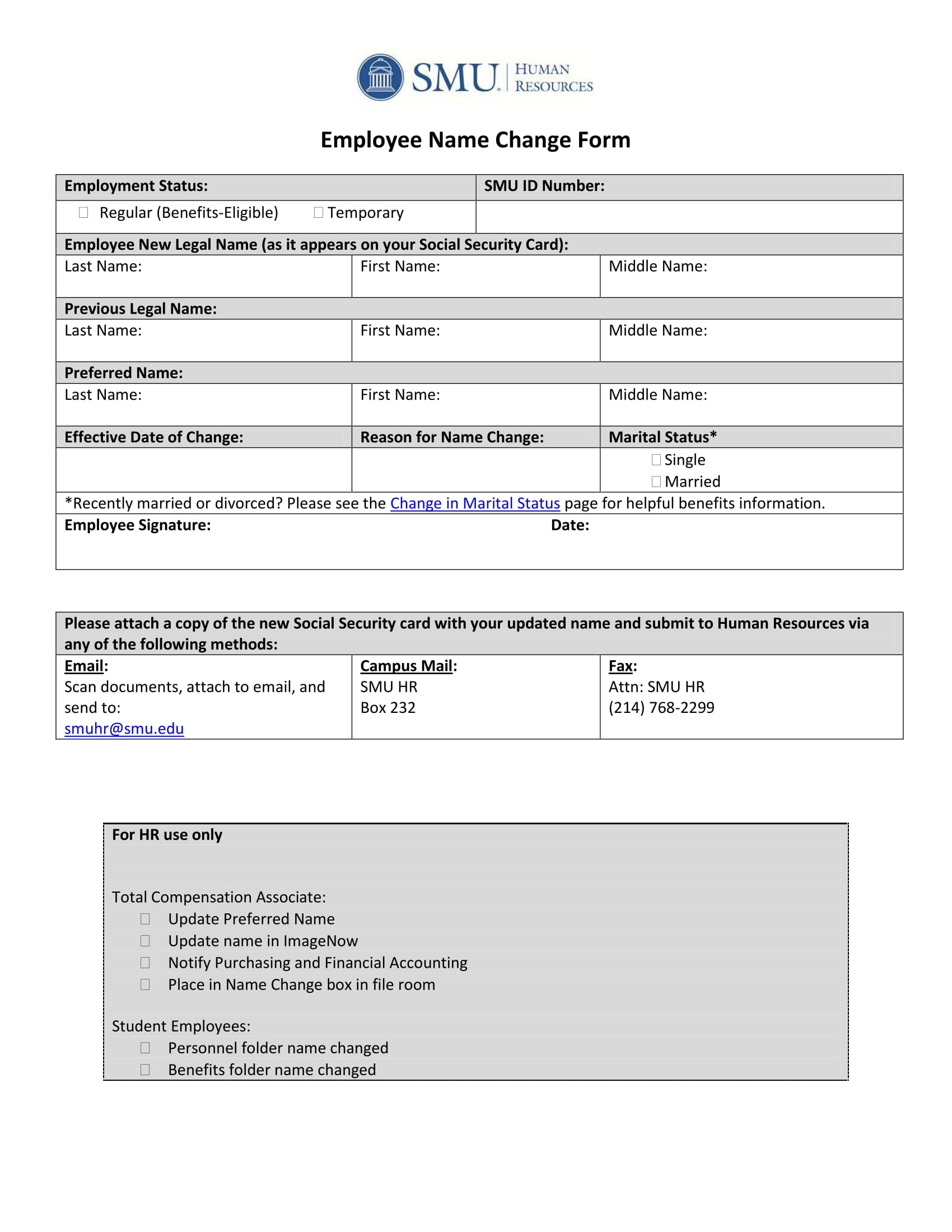 employee name change form 1