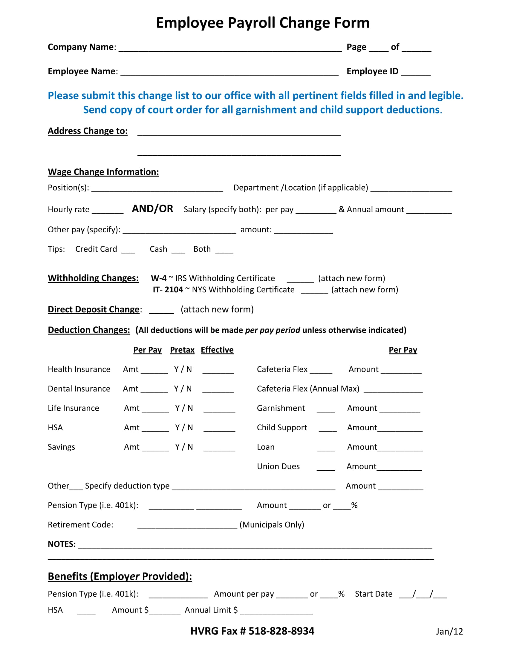 employee payroll change form 1