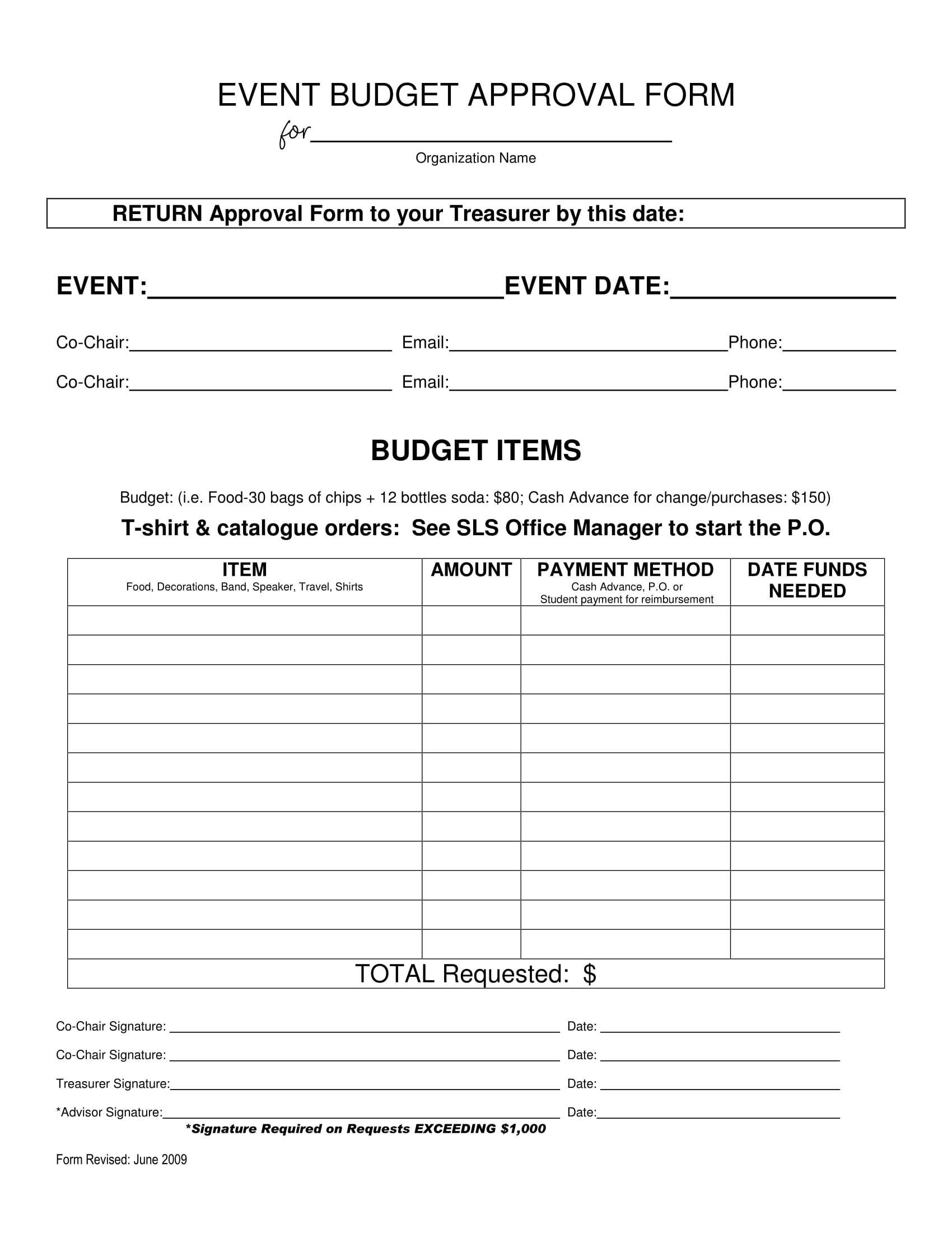 Event Budget Approval Form Sample