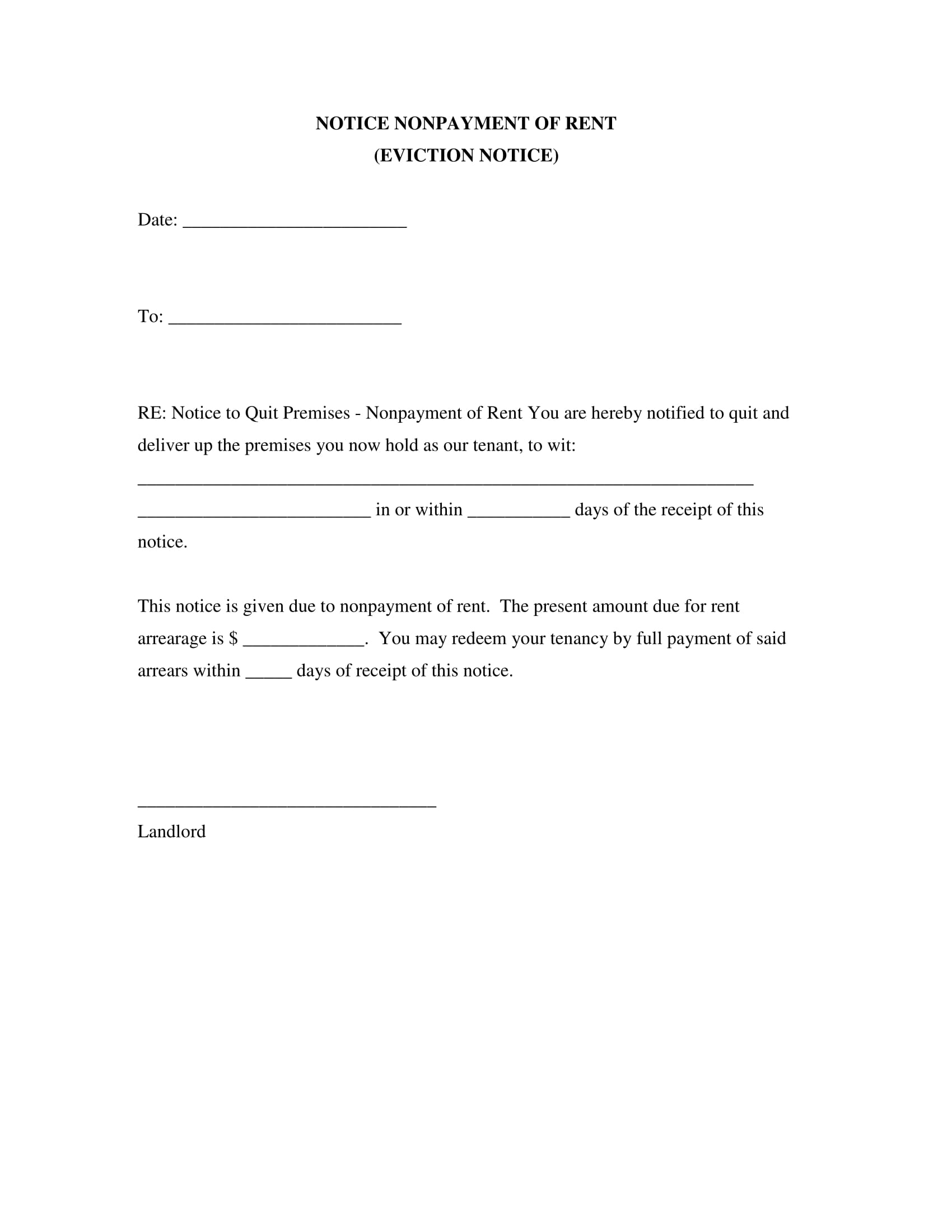 Eviction Notice Form Sample  Landlord Eviction Notice Sample