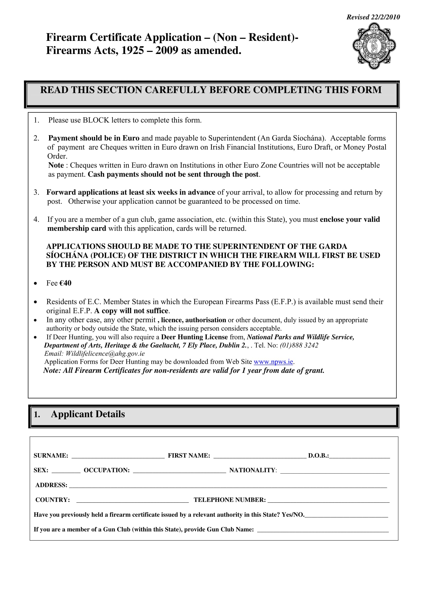 firearm certificate application for non residents