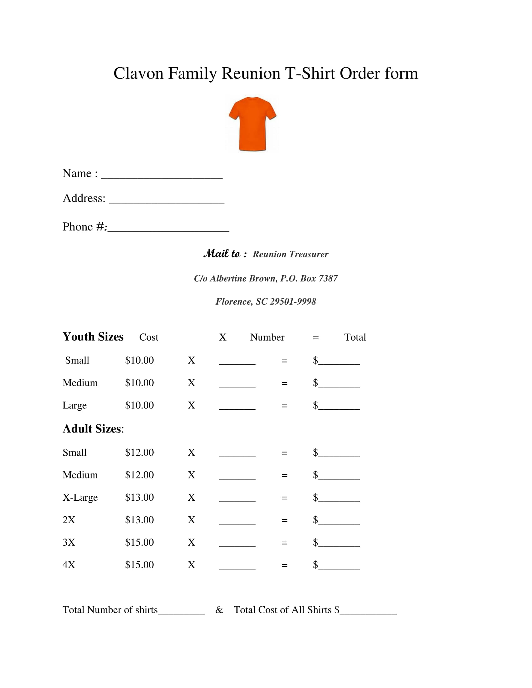 family reunion t shirt order form 1