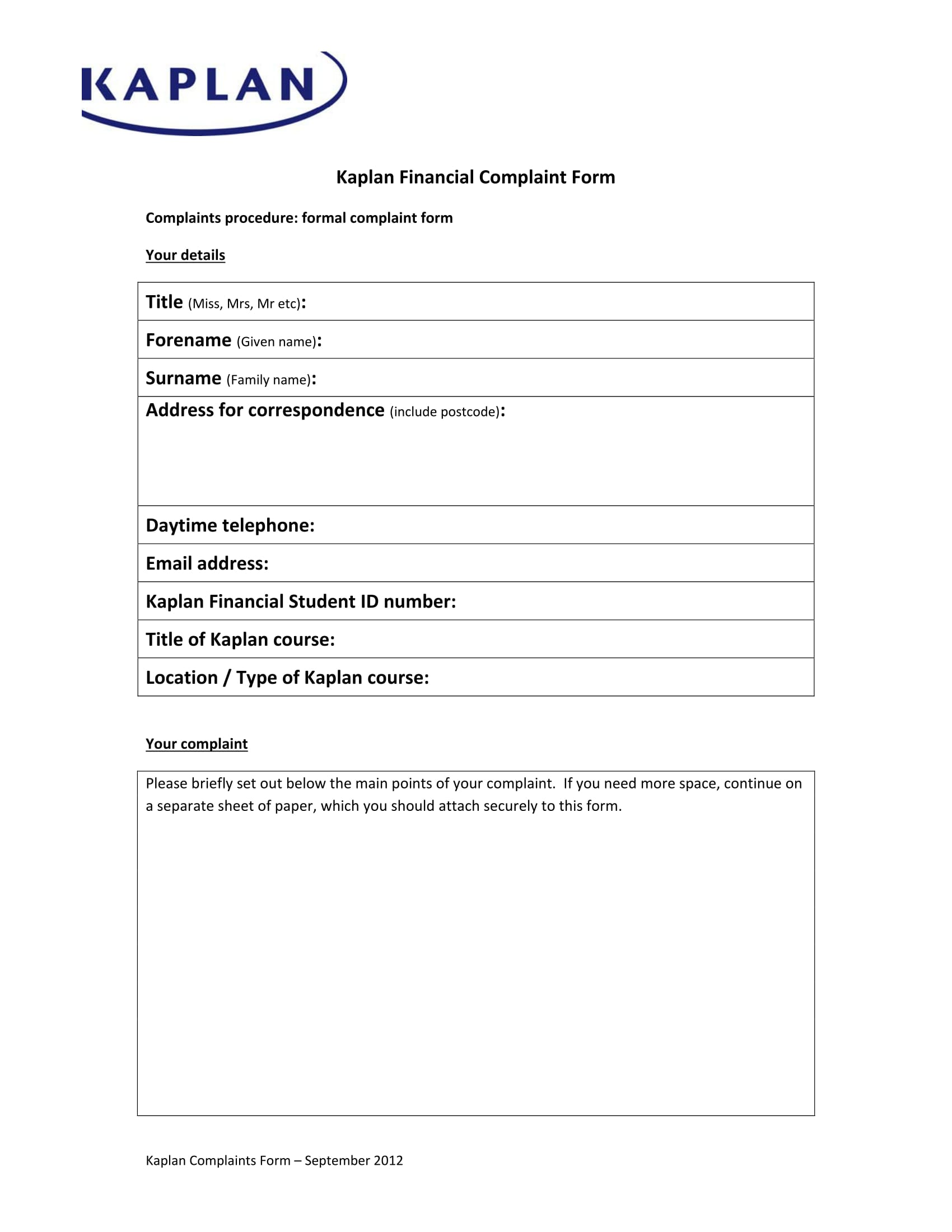 financial complaint form sample 1